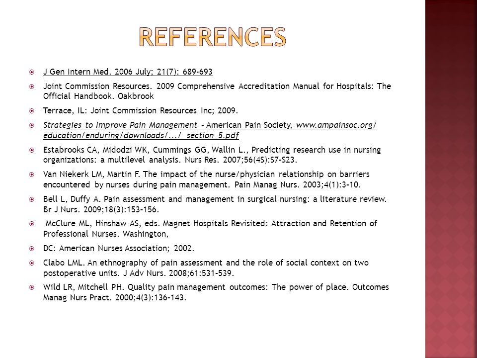 References J Gen Intern Med. 2006 July; 21(7): 689-693