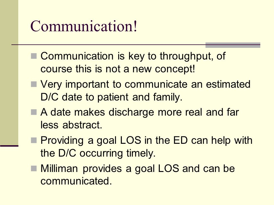 Communication! Communication is key to throughput, of course this is not a new concept!
