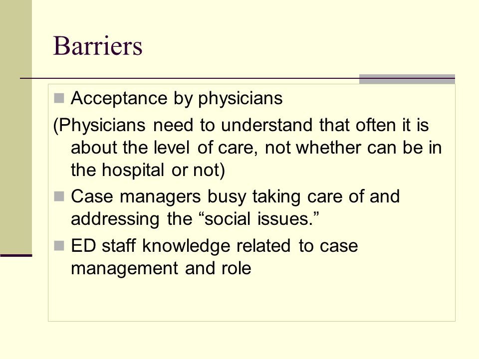 Barriers Acceptance by physicians
