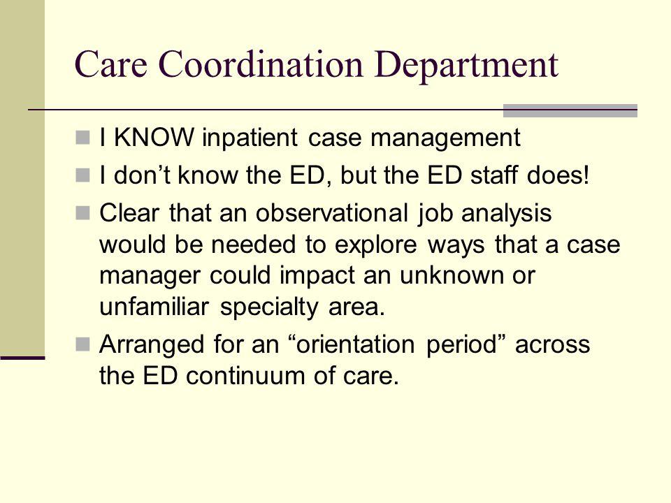 Care Coordination Department
