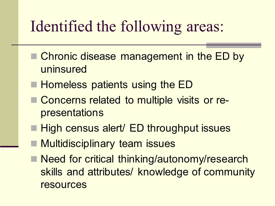 Identified the following areas: