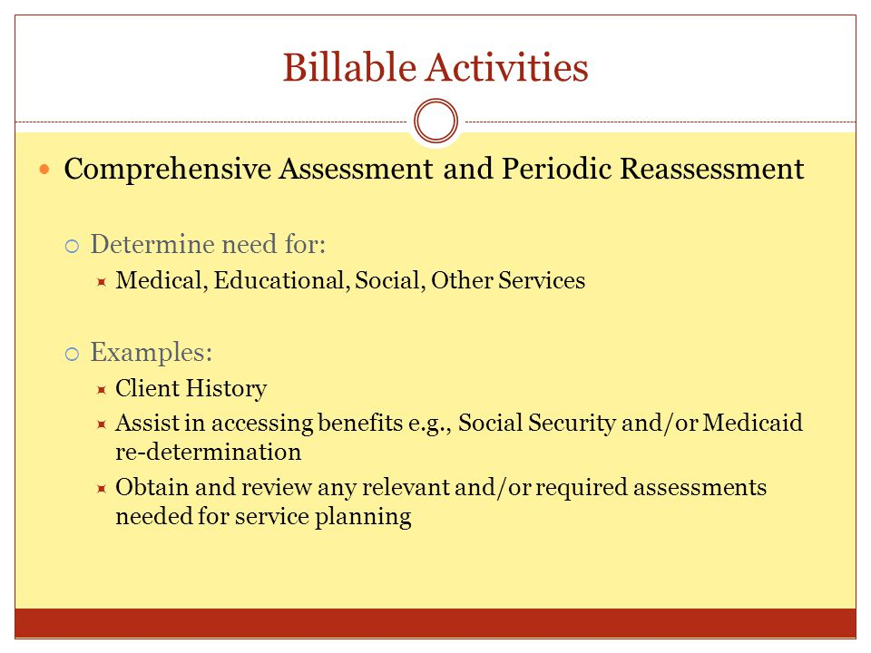 Billable Activities Comprehensive Assessment and Periodic Reassessment