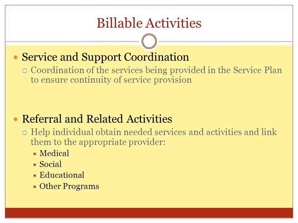 Billable Activities Service and Support Coordination