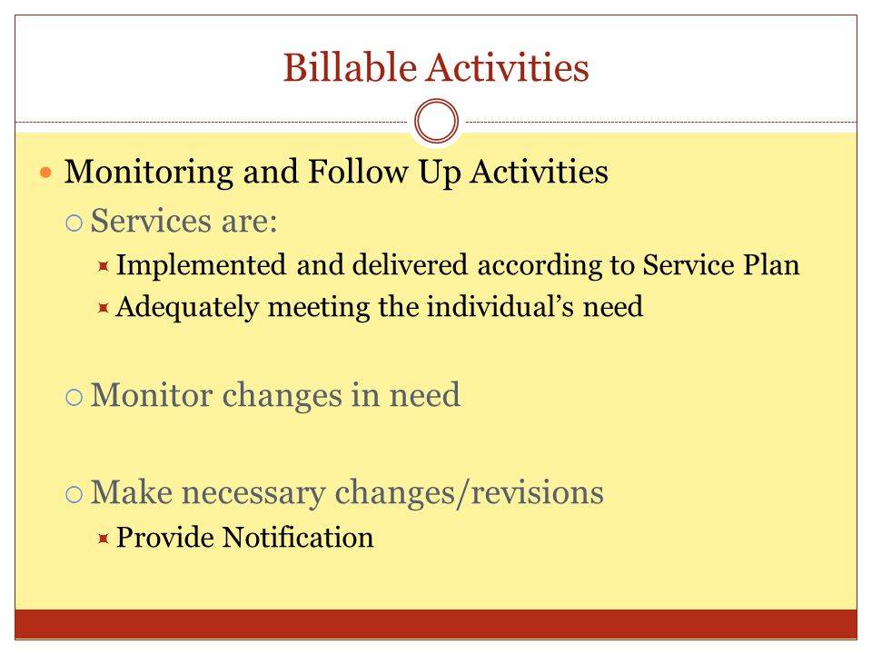 Billable Activities Monitoring and Follow Up Activities Services are: