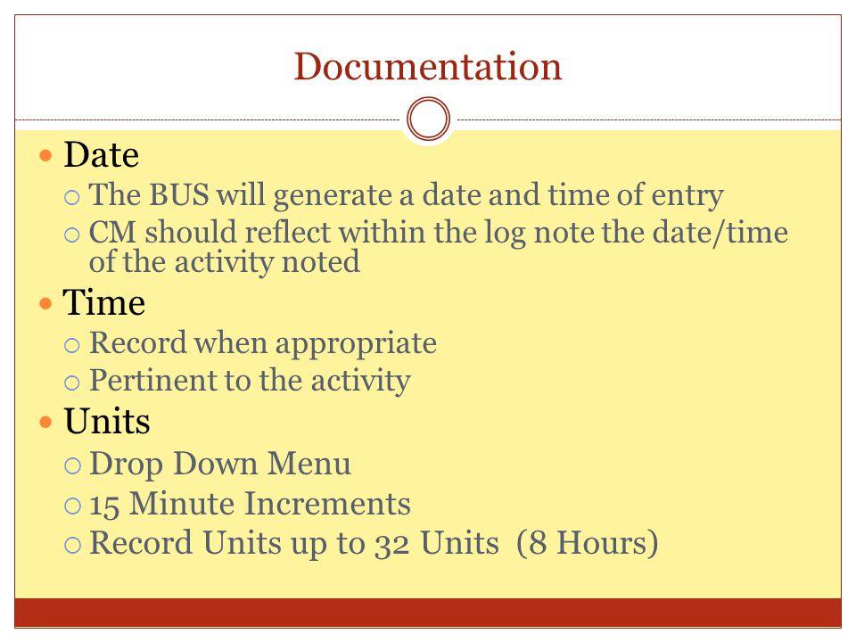 Documentation Date Time Units Drop Down Menu 15 Minute Increments
