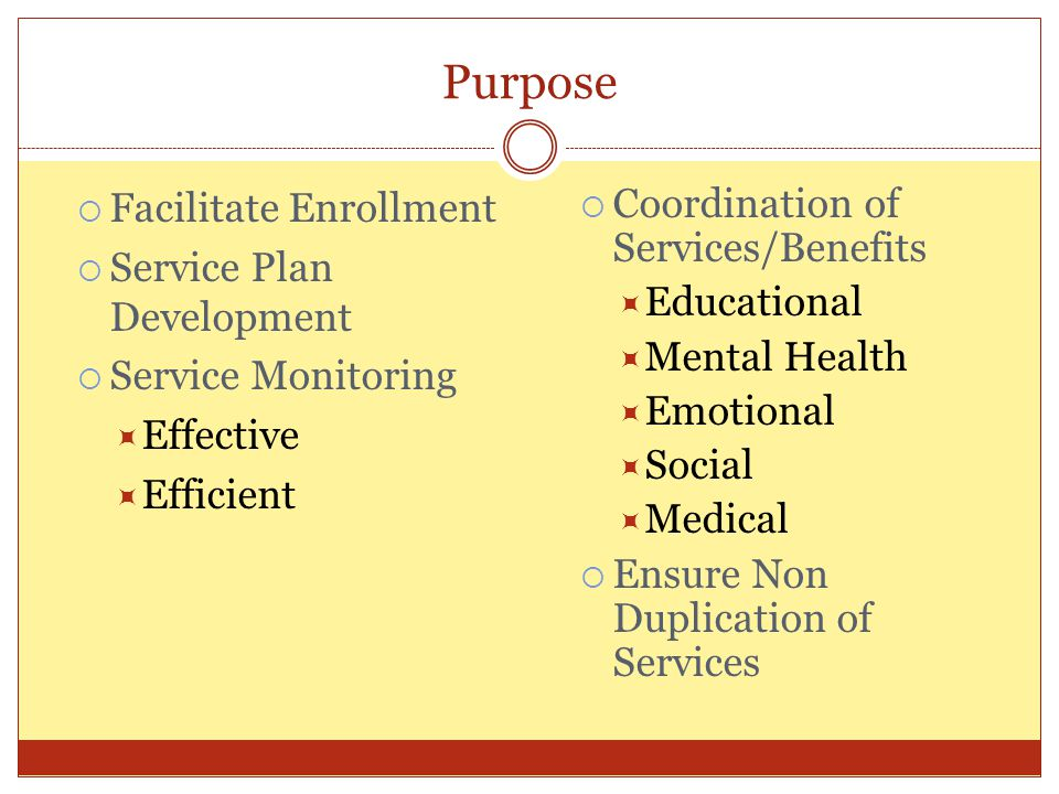 Purpose Facilitate Enrollment Service Plan Development