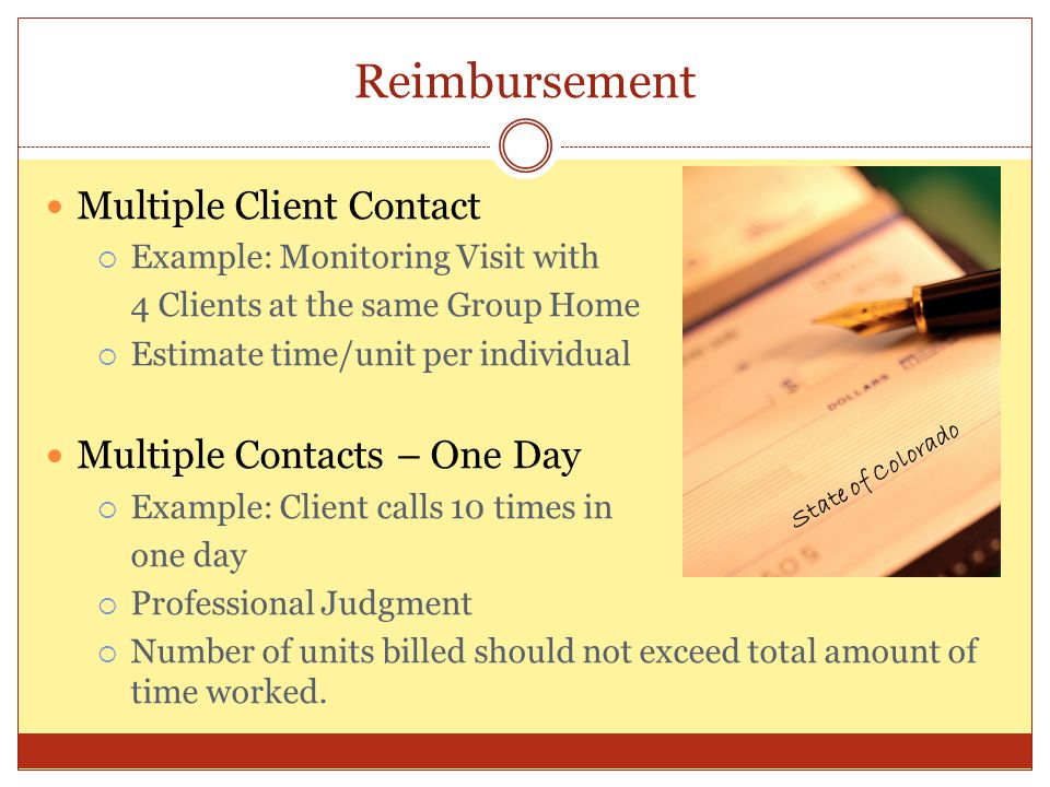 Reimbursement Multiple Client Contact Multiple Contacts – One Day
