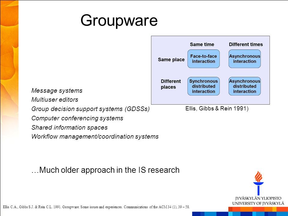 Groupware …Much older approach in the IS research Message systems