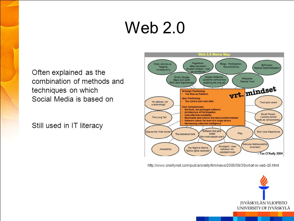 Web 2.0 Often explained as the combination of methods and