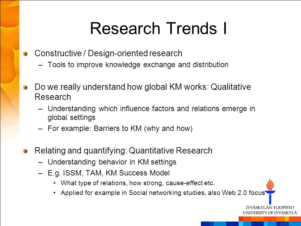 Research Trends I Constructive / Design-oriented research