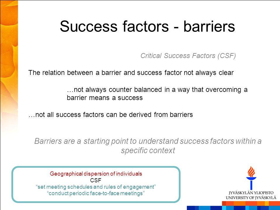 Success factors - barriers