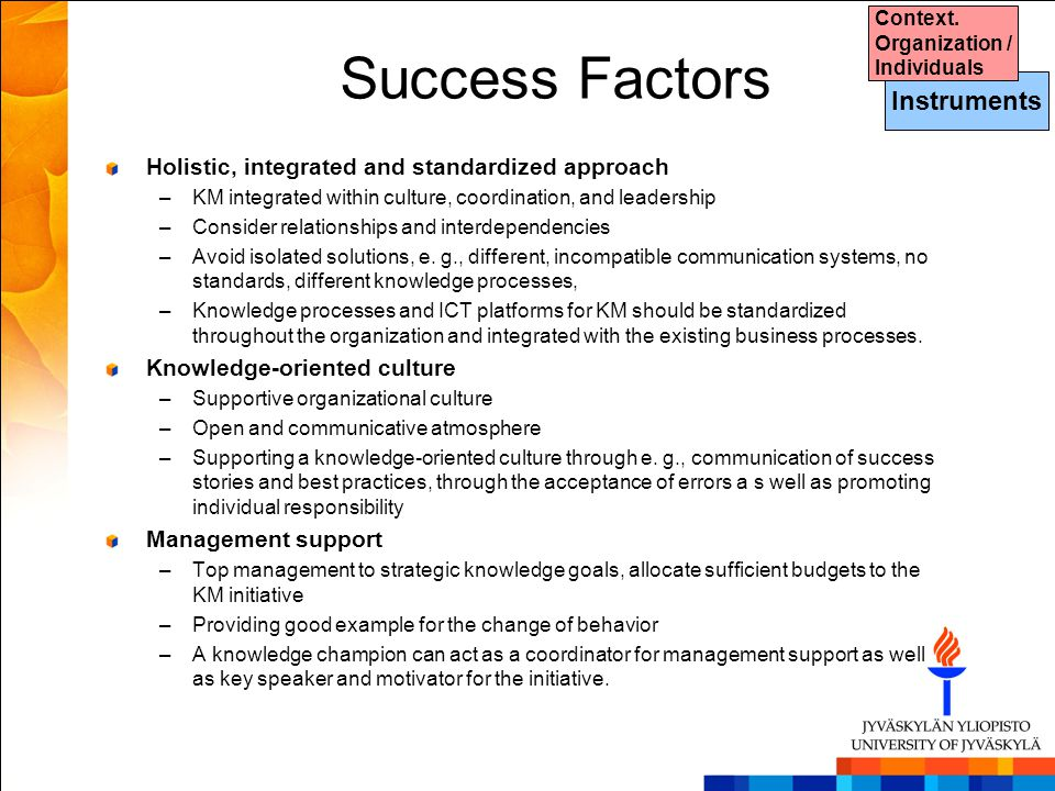 Success Factors Instruments
