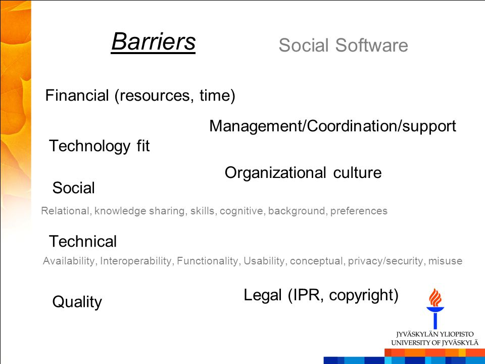 Barriers Social Software Financial (resources, time)