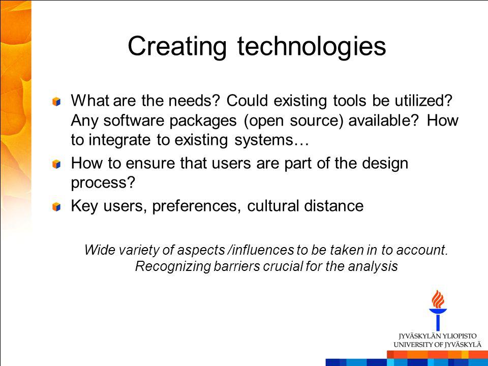 Creating technologies