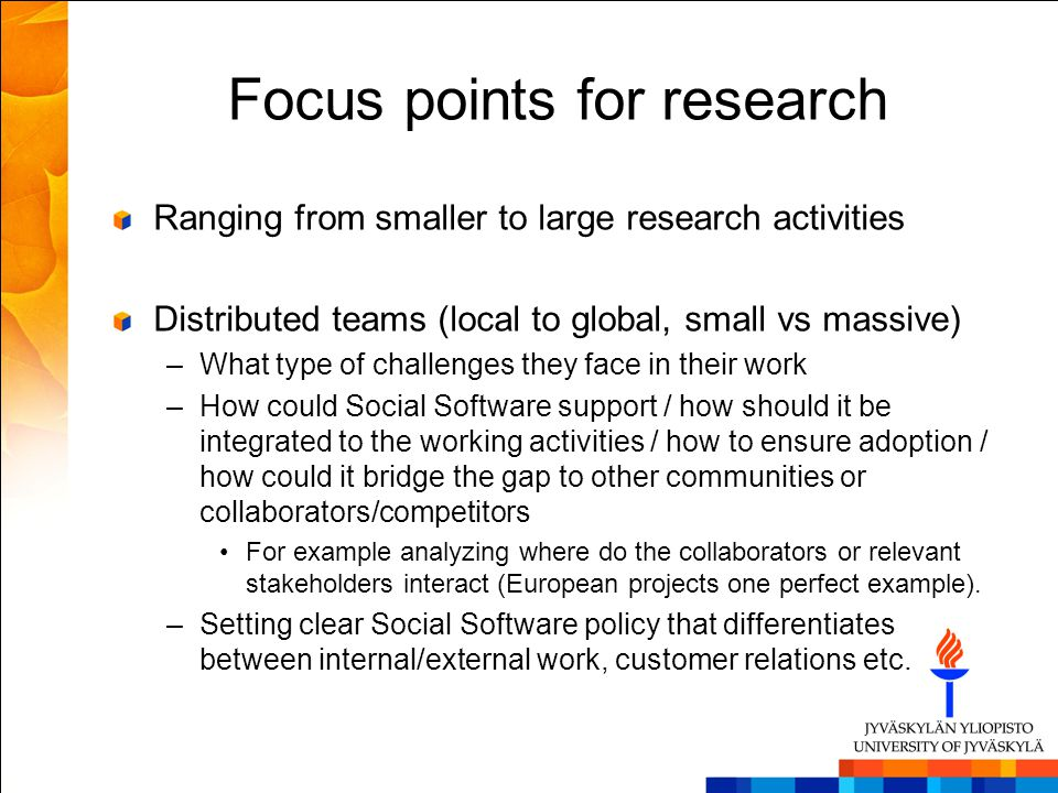 Focus points for research