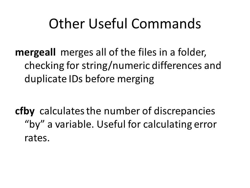 Other Useful Commands