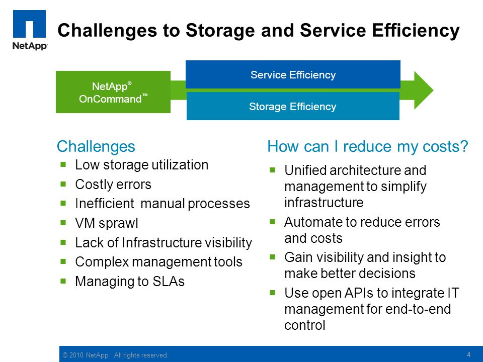 Challenges to Storage and Service Efficiency