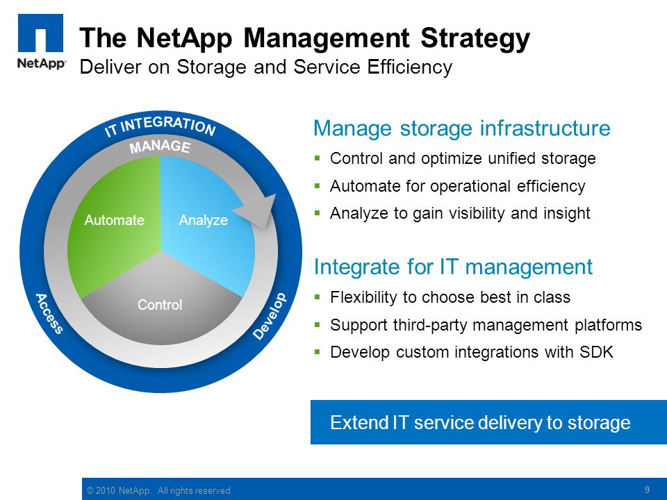 The NetApp Management Strategy Deliver on Storage and Service Efficiency
