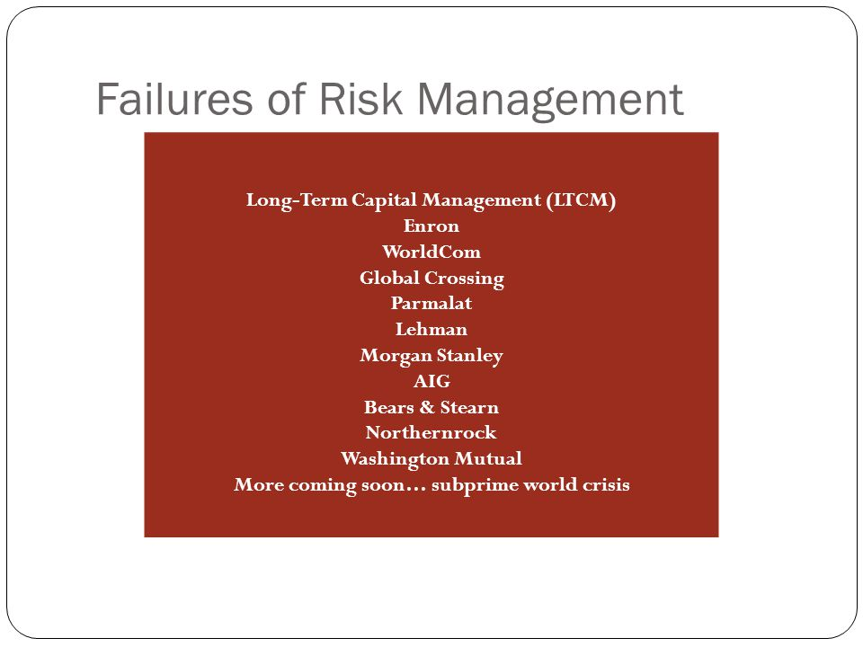 Failures of Risk Management