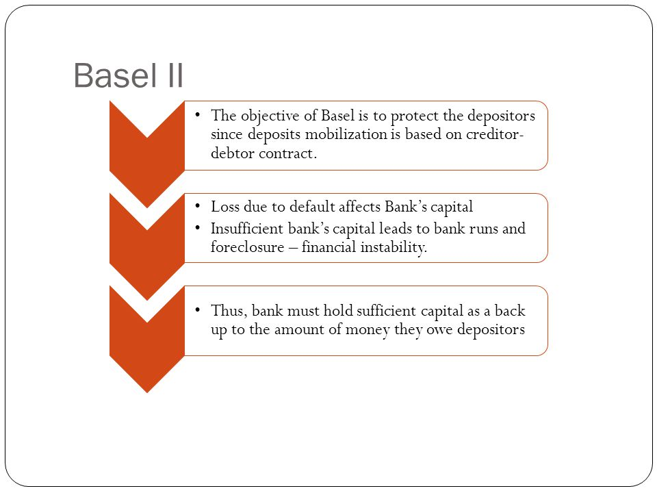 Basel II The objective of Basel is to protect the depositors since deposits mobilization is based on creditor-debtor contract.