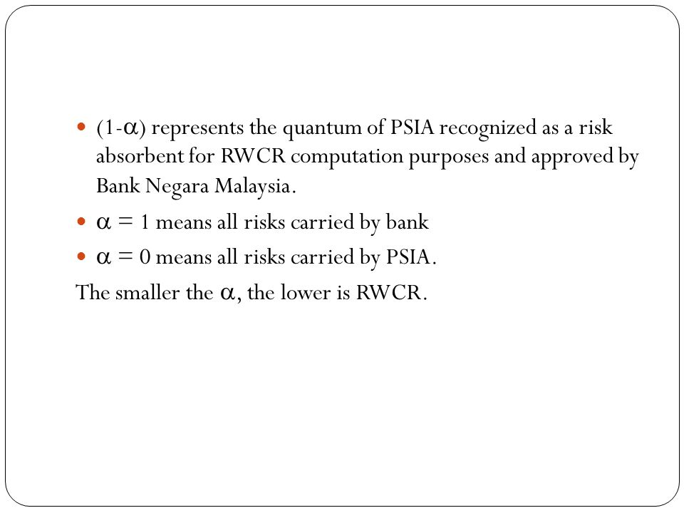 (1-) represents the quantum of PSIA recognized as a risk absorbent for RWCR computation purposes and approved by Bank Negara Malaysia.