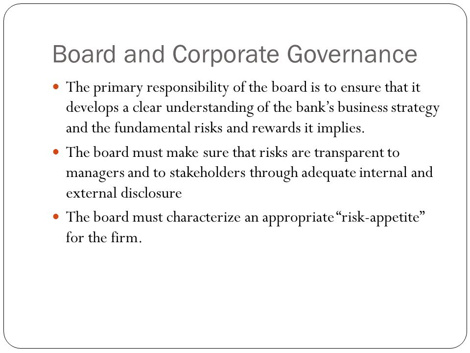 Board and Corporate Governance