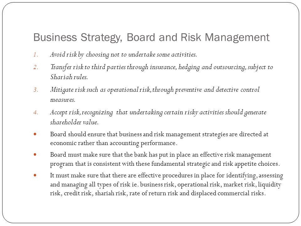 Business Strategy, Board and Risk Management