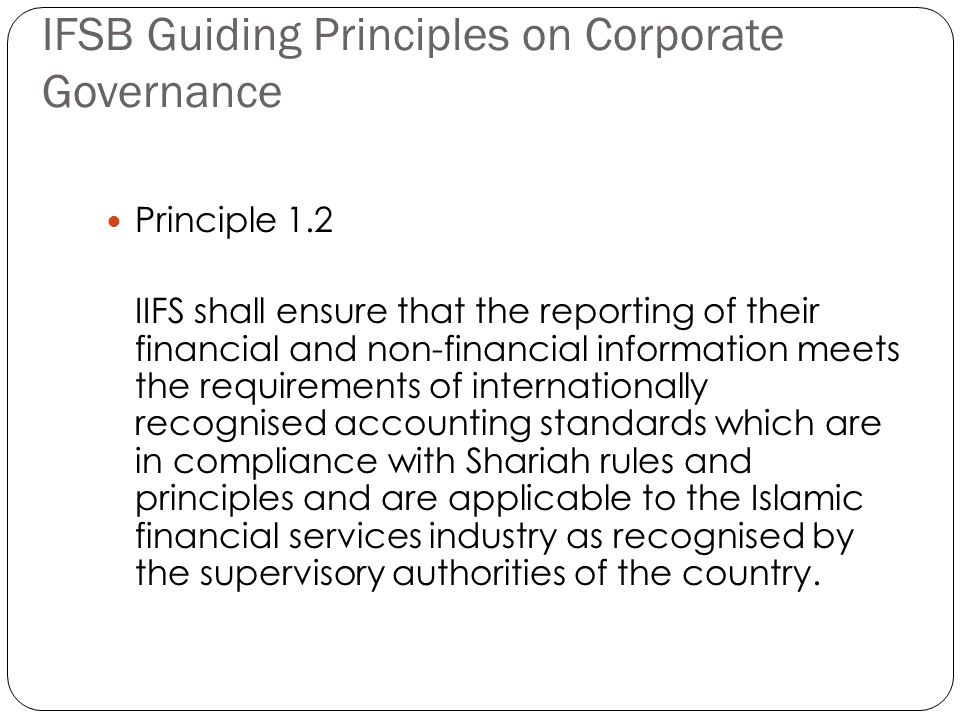 IFSB Guiding Principles on Corporate Governance