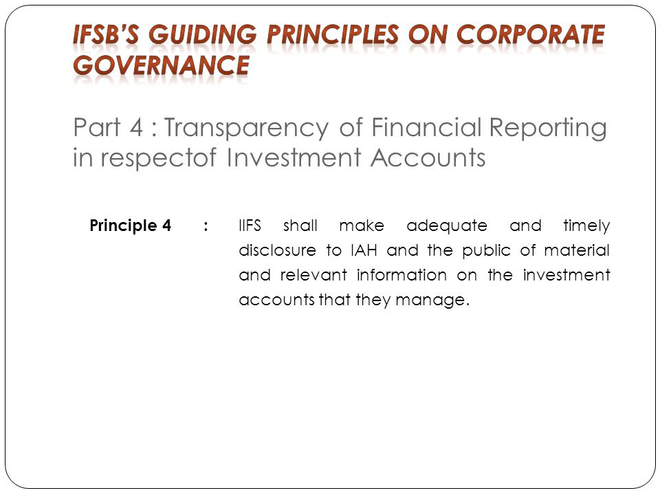 IFSB'S Guiding Principles on Corporate Governance