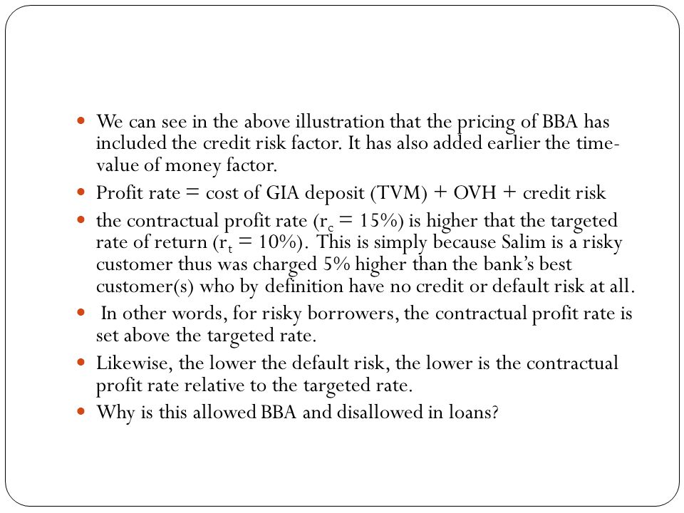 We can see in the above illustration that the pricing of BBA has included the credit risk factor. It has also added earlier the time- value of money factor.