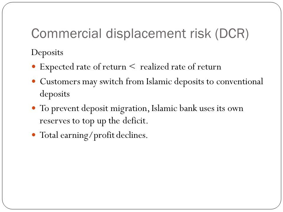 Commercial displacement risk (DCR)