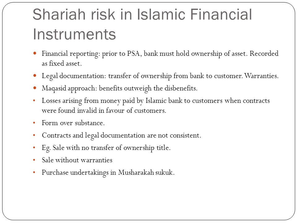 Shariah risk in Islamic Financial Instruments