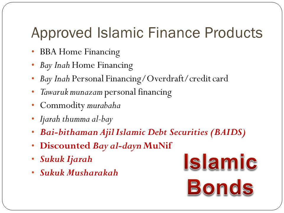 Approved Islamic Finance Products