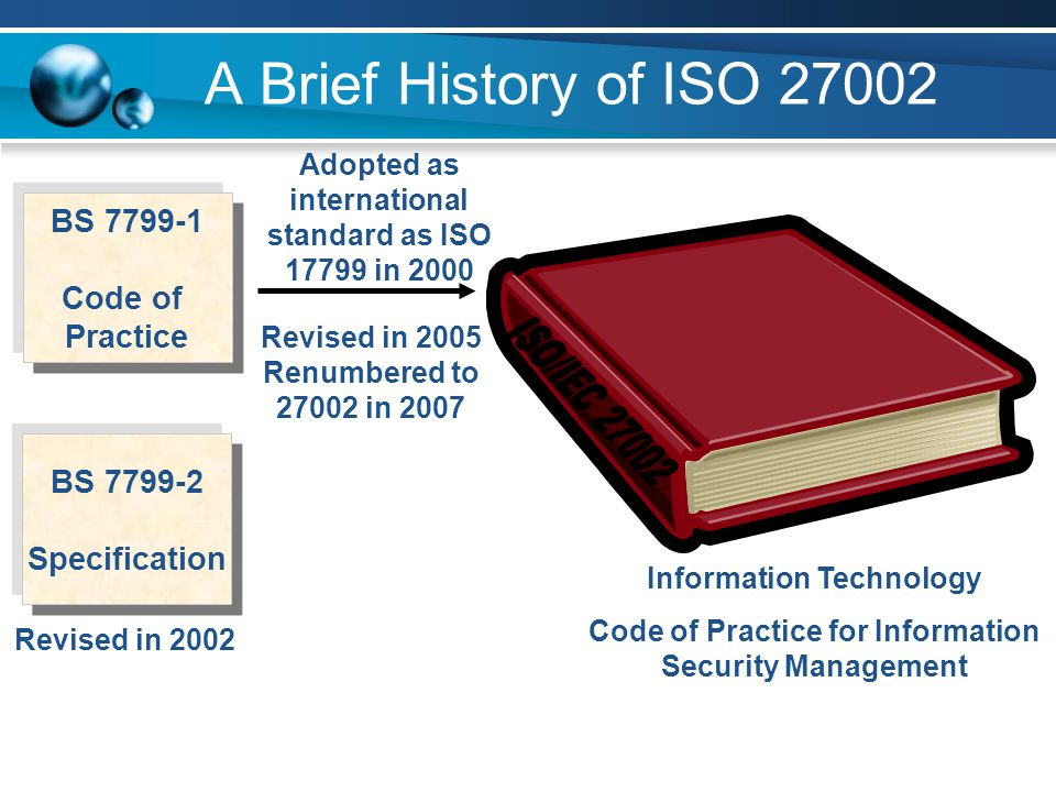 A Brief History of ISO 27002 BS 7799-1 Code of Practice BS 7799-2