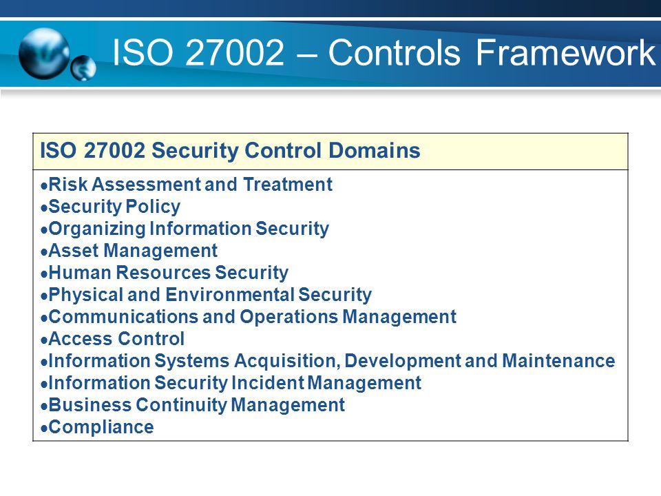 ISO 27002 – Controls Framework