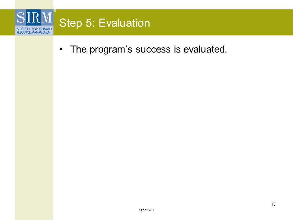 Step 5: Evaluation The program's success is evaluated.