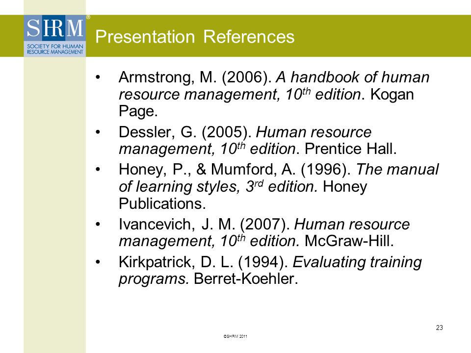 Presentation References