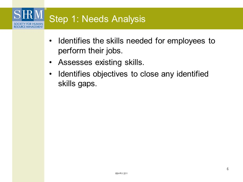 Step 1: Needs Analysis Identifies the skills needed for employees to perform their jobs. Assesses existing skills.