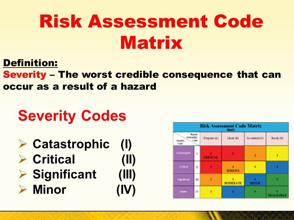Risk Assessment Code Matrix