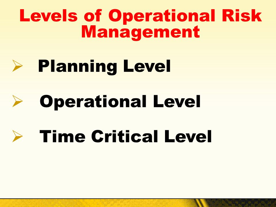 Levels of Operational Risk Management