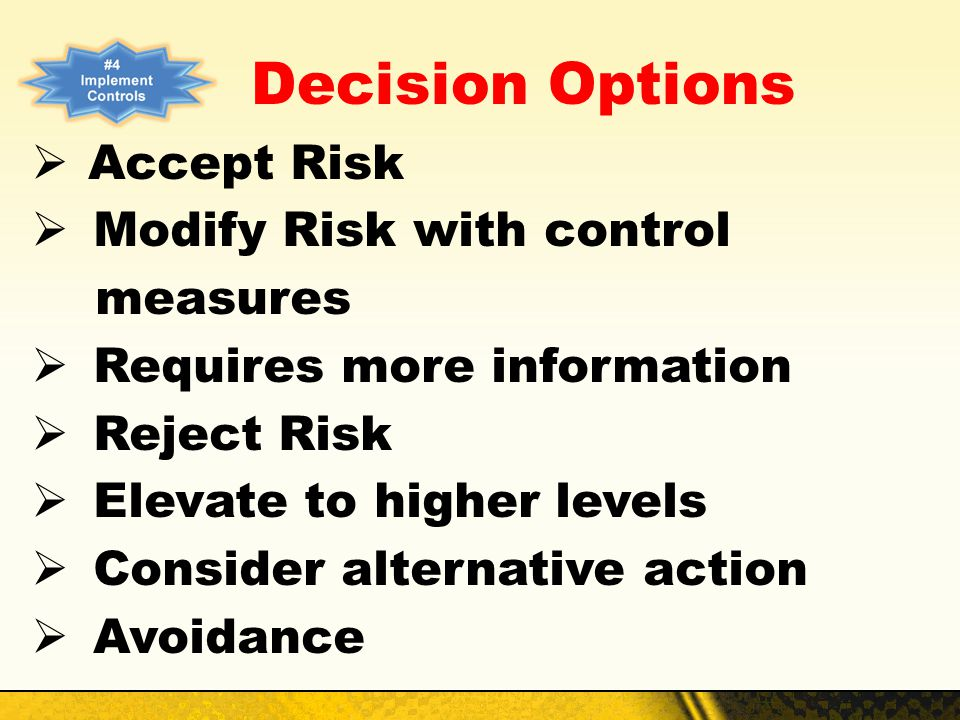 Decision Options Accept Risk Modify Risk with control measures