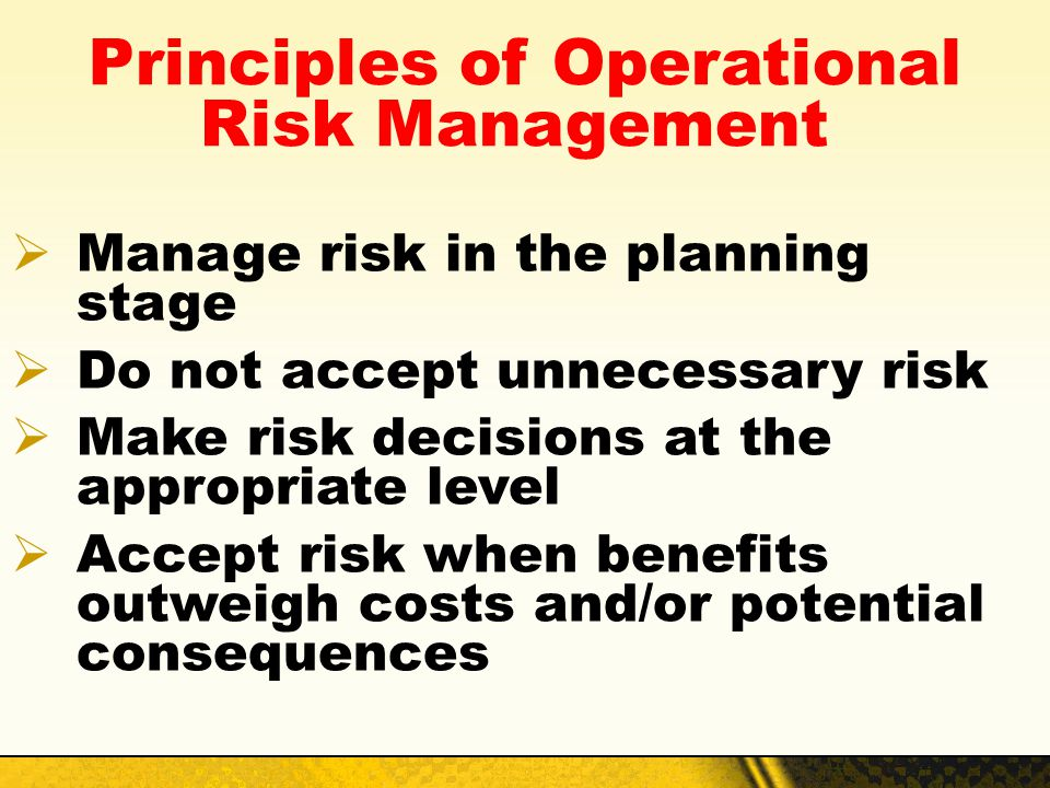 Principles of Operational Risk Management