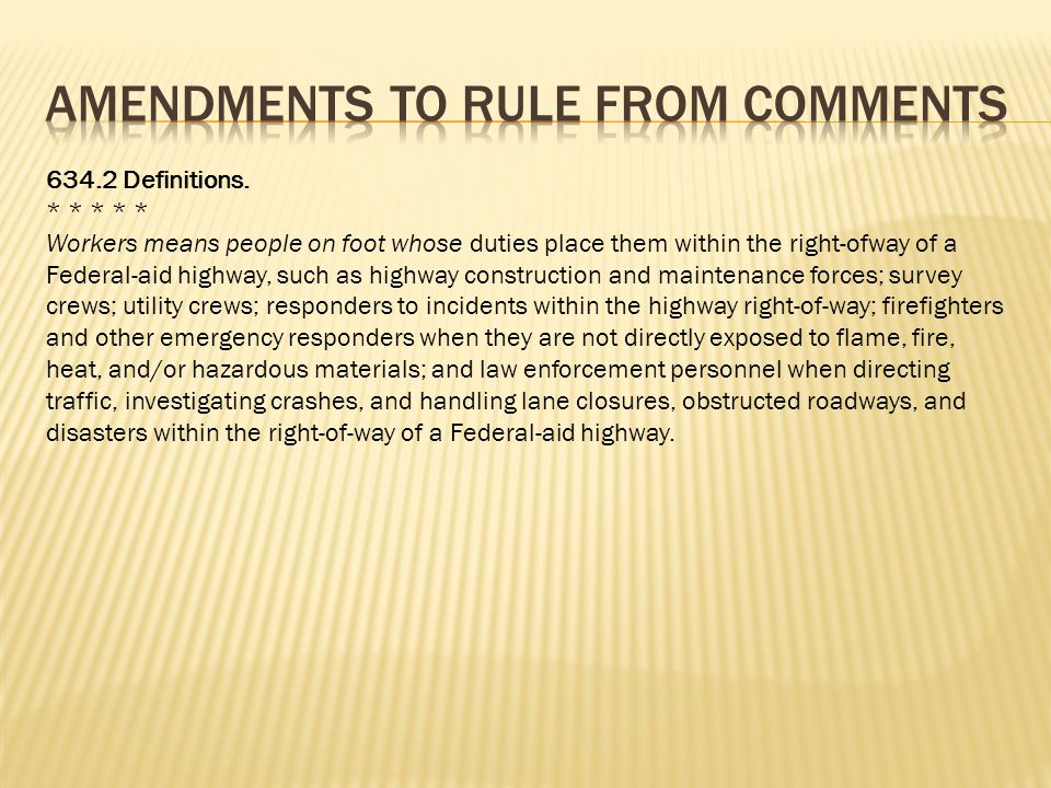 Amendments to Rule from comments