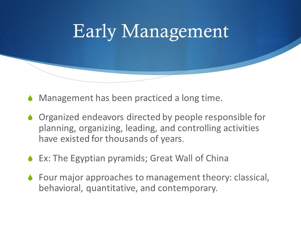 early management approach Classical approach to management is a set of homogeneous ideas on the management of organizations that evolved in the late 19 th century and early 20 century this perspective emerges from the industrial.
