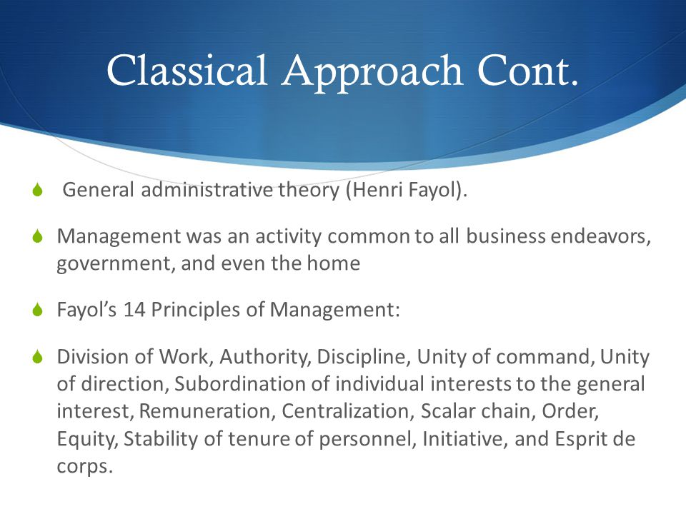 Classical Approach Cont.