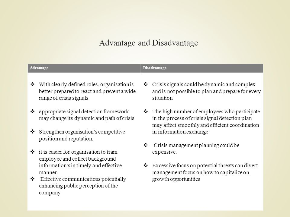 Advantage and Disadvantage