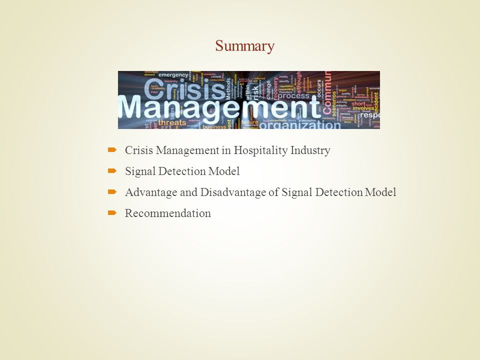 Summary Crisis Management in Hospitality Industry