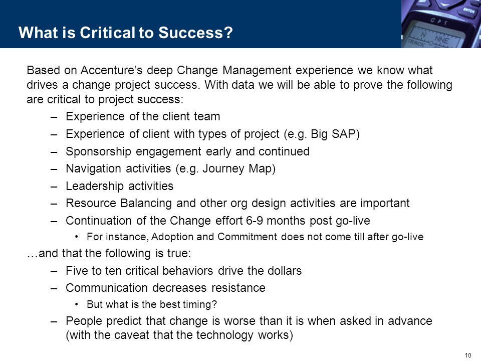 What is Critical to Success