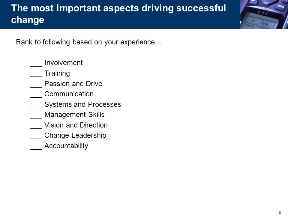 The most important aspects driving successful change