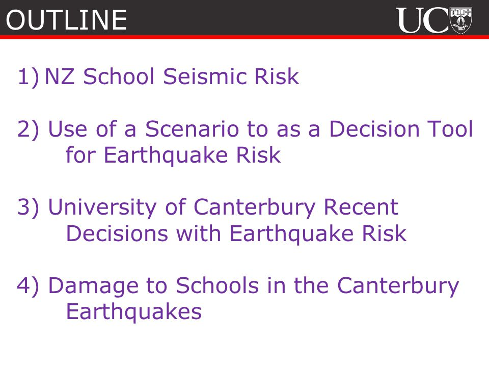 OUTLINE NZ School Seismic Risk
